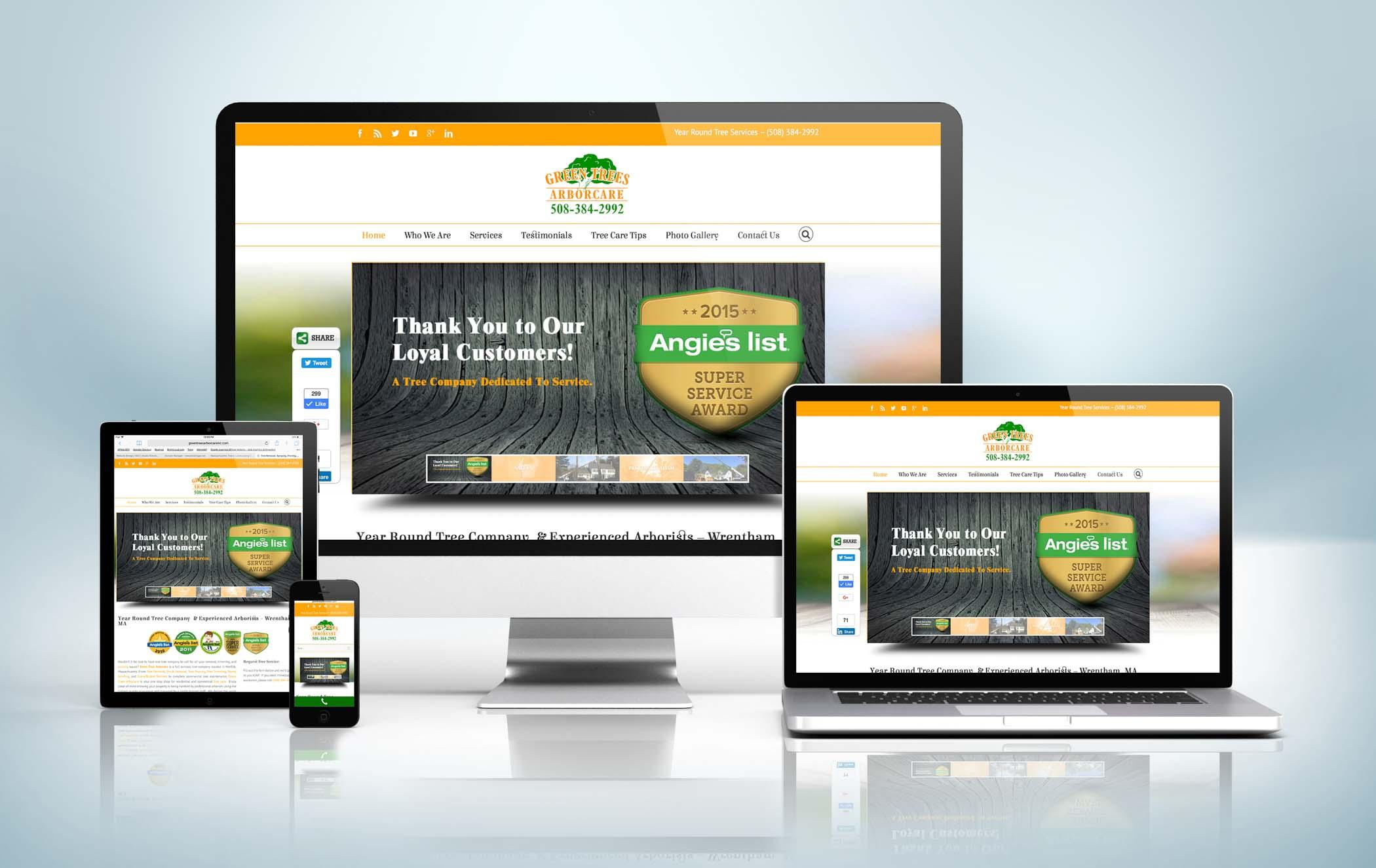 Responsive Website Mock-Up Green Trees Arbor Care Inc
